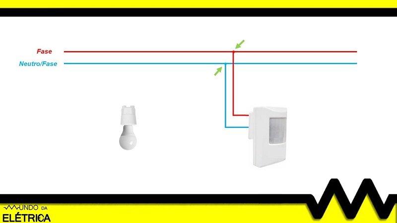 Esquema para sensor de presen a mundo da el trica for Colori fase e neutro